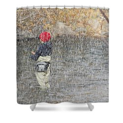 River Fishing In The Snow Shower Curtain by Brent Dolliver