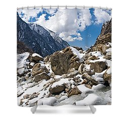 River Flowing Through Rocks, Modi Khola Shower Curtain by Panoramic Images