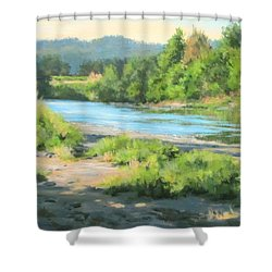 River Forks Morning Shower Curtain by Karen Ilari