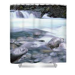 River, Hollyford River, Fiordland Shower Curtain