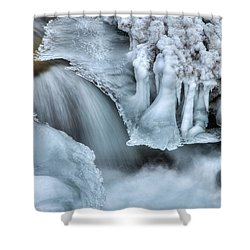 River Ice Shower Curtain by Chad Dutson