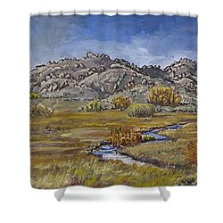 Shower Curtain featuring the painting River Mural Autumn View  by Dawn Senior-Trask