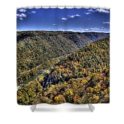 River Running Through A Valley Shower Curtain by Jonny D