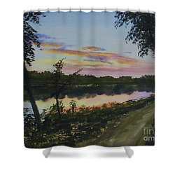 River Sunset Shower Curtain by Martin Howard
