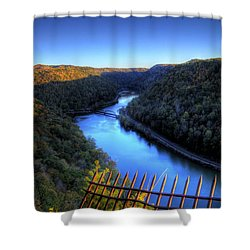 Shower Curtain featuring the photograph River Through A Valley by Jonny D