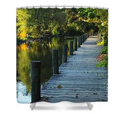 Shower Curtain featuring the photograph River Walk In Traverse City Michigan by Terri Gostola