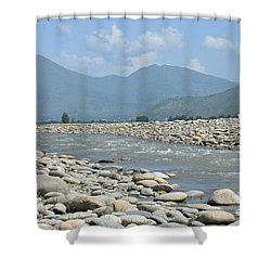 Riverbank Water Rocks Mountains And A Horseman Swat Valley Pakistan Shower Curtain by Imran Ahmed