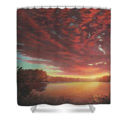 Riverbend Sunset Sky River Landscape Oil Painting American Yellow Pink Orange Shower Curtain by Walt Curlee
