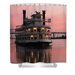 Riverboat At Sunset Shower Curtain by Cynthia Guinn
