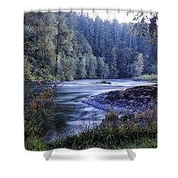 Riverflow At Dusk Shower Curtain by Belinda Greb