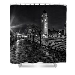 Riverfront Park Clocktower Seahawks Black And White Shower Curtain
