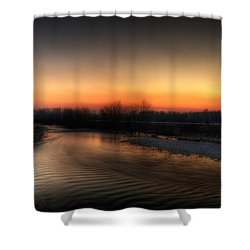 Riverscape At Sunset Shower Curtain