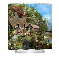 Riverside Home In Bloom Shower Curtain by Dominic Davison