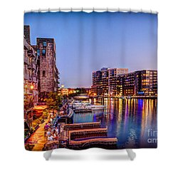 Riverwalk At Dusk Shower Curtain