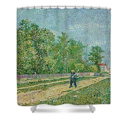 Road On The Edge Of Paris Shower Curtain by Vincent Van Gogh