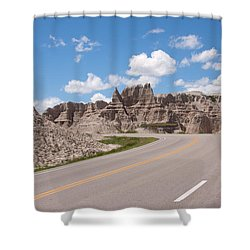 Road Through The Badlands Shower Curtain