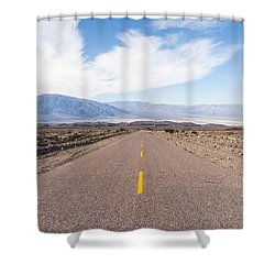 Road To Death Valley Shower Curtain by Muhie Kanawati