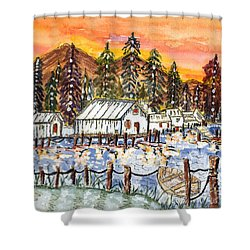 Shower Curtain featuring the painting Road To The Oregon Coast by Connie Valasco