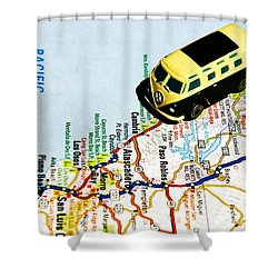 Road Trip - The Pch Shower Curtain by Benjamin Yeager