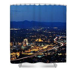 Roanoke City As Seen From Mill Mountain Star At Dusk In Virginia Shower Curtain by Paul Fearn