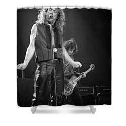 Robert Plant And Jimmy Page Shower Curtain by Timothy Bischoff