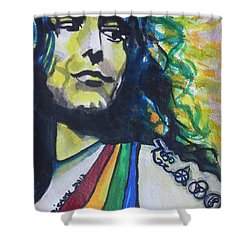Robert Plant.. Led Zeppelin Shower Curtain by Chrisann Ellis
