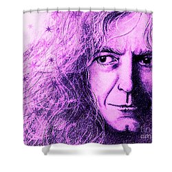 Robert Plant Purple Shower Curtain by Patrice Torrillo