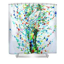 Robert Plant Singing - Watercolor Portrait Shower Curtain