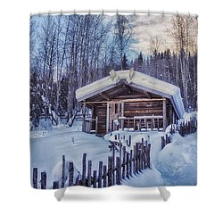 Robert Service Cabin Winter Idyll Shower Curtain by Priska Wettstein