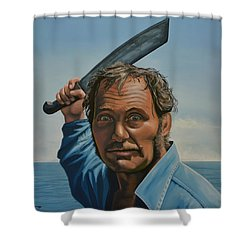 Robert Shaw In Jaws Shower Curtain by Paul Meijering