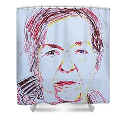 Shower Curtain featuring the drawing Roberta's Portrait by PainterArtist FINs husband Maestro