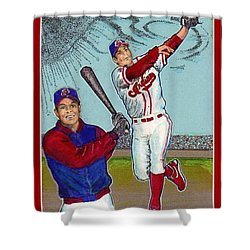 Shower Curtain featuring the mixed media Roberto Alomar Hall Of Fame by Ray Tapajna