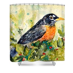 Shower Curtain featuring the painting Robin In The Holly by Beverley Harper Tinsley