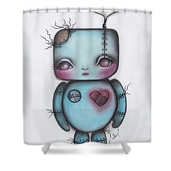 Robot Shower Curtain by Abril Andrade Griffith