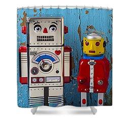 Robot Friends Shower Curtain by Garry Gay