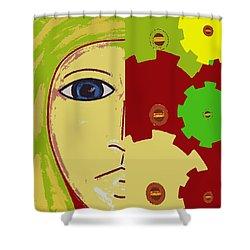 Robot Shower Curtain by Patrick J Murphy