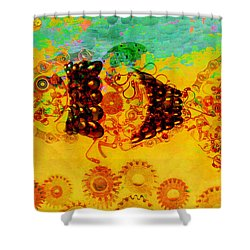 Robotic Fossil - Fish Shower Curtain by Fran Riley