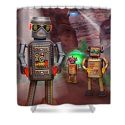 Robots With Attitudes 2 Shower Curtain by Mike McGlothlen
