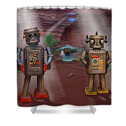 Robots With Attitudes  Shower Curtain by Mike McGlothlen