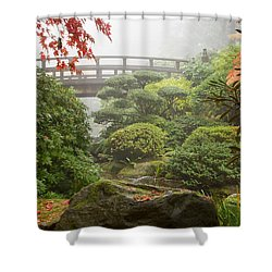 Shower Curtain featuring the photograph Rock And Bridge At Japanese Garden by JPLDesigns