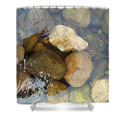 Rock And Pebbles Shower Curtain by David Stribbling