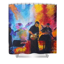 Rock And Roll Shower Curtain by Jan Bennicoff