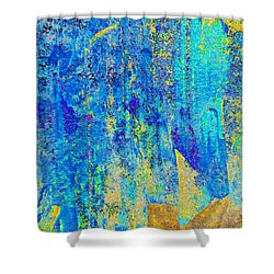 Rock Art Blue And Gold Shower Curtain