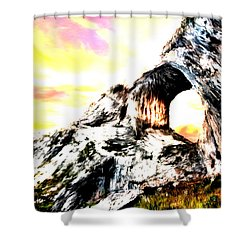 Shower Curtain featuring the painting Rock Cliff Sunset by Bruce Nutting