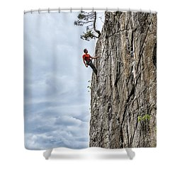 Rock Climber Shower Curtain by Carsten Reisinger