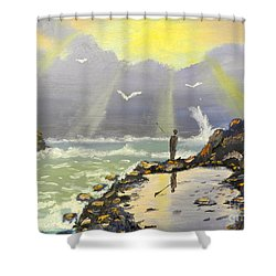 Shower Curtain featuring the painting Rock Fishing At Wombarra  by Pamela  Meredith