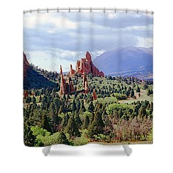 Rock Formations On A Landscape, Garden Shower Curtain by Panoramic Images