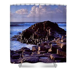 Rock Formations On The Coast, Giants Shower Curtain by Panoramic Images