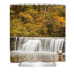 Shower Curtain featuring the photograph Rockbridge Fisherman by Steven Bateson