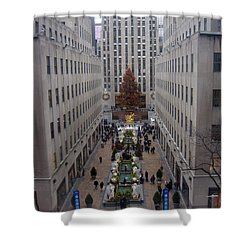 Rockefeller Plaza At Christmas Shower Curtain